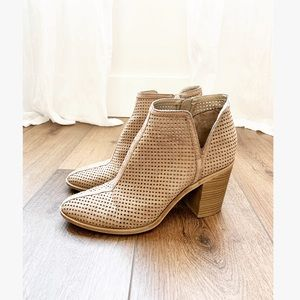 Anthro Nude Block Heel Ankle Bootie Perforated